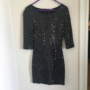 BB Dakota black sequins mini dress with sleeves